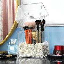Чистый макияжный коробочка для жемчуга коробка для хранения косметики для макияжа Футляр для кисточек карандаш Губная Помада держатель Органайзер для косметических инструментов чехол C138