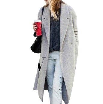 6a97ca05c836b 2016 Hollywood style new winter women s designer grey wool coats in women  wool coat lapel jacket and long coat