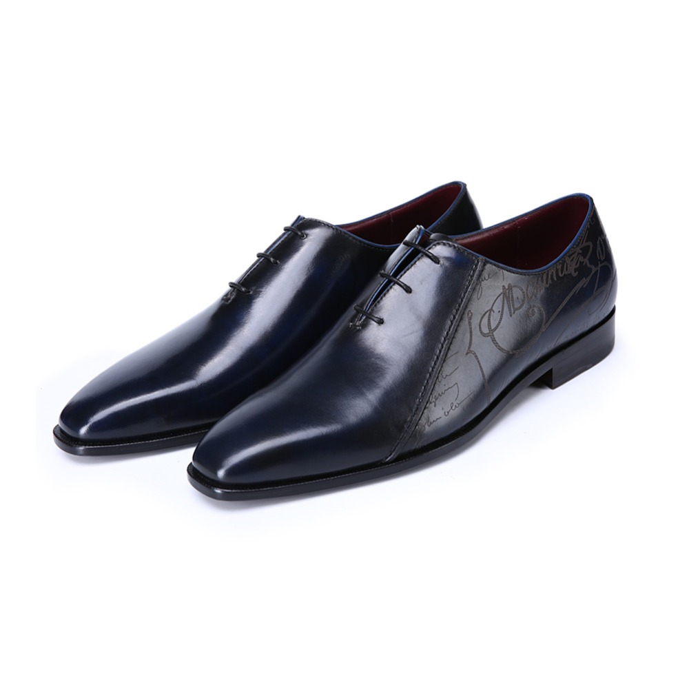 TERSE_Luxury handmade mens dress shoes Italian calfskin genuine leather oxfords blue color in stock goodyear welted formal shoes