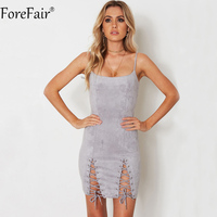 ForeFair Sexy Sling Strapless Criss Cross Lace Up Bodycon Dress Suede Black Gray Army Green Back