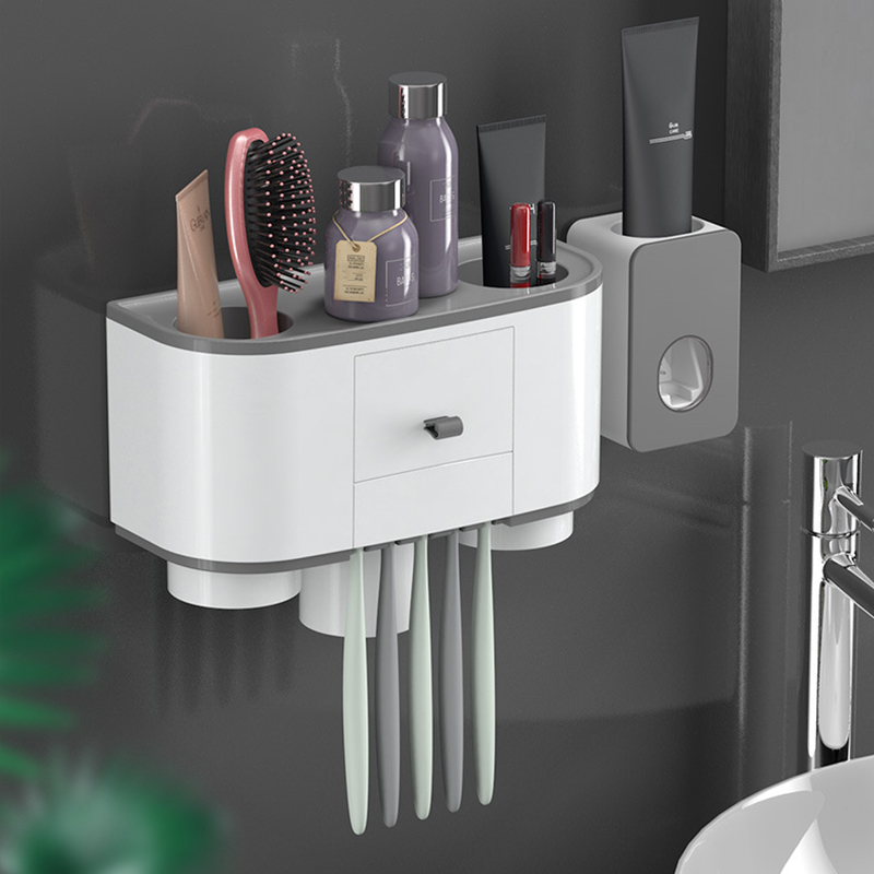 Magnetic Adsorption Toothbrush Holder Automatic Toothpaste Dispenser Squeezer Wall Mount Bathroom Storage Organizer Rack Sets