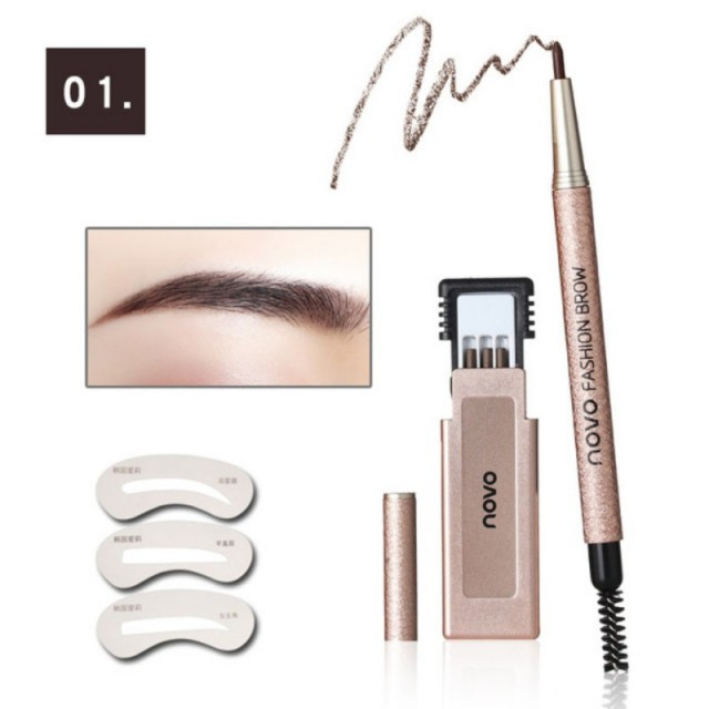 Newest Automatic Eyebrow Pencil Makeup Kit Waterproof Eyebrow Eyes Makeup Easy to Wear Durable Eyebrow With Stencils xgrj 4