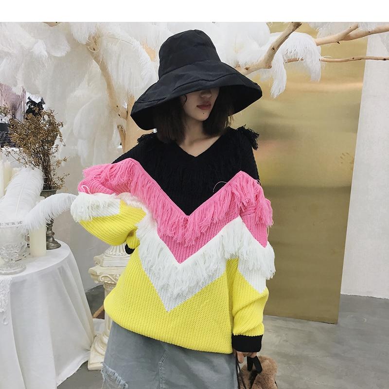 Contrasto Pullover Nappe Maglione Donne Dettagli Di A Delle Black yellow Frange Righe Maglia BXqwxZ