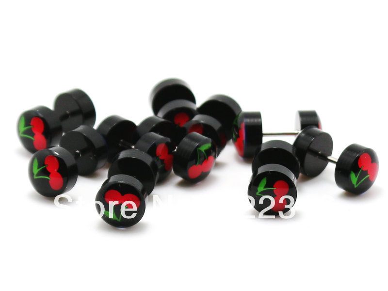 Jewelry & Accessories Jewelry Sets & More Nice 50pcs Free Shipping Piercing Body Jewelry 8mm Black Acrylic Red Fire Logo Picture Fake Earrings Ear Plug Cheaters Moderate Price