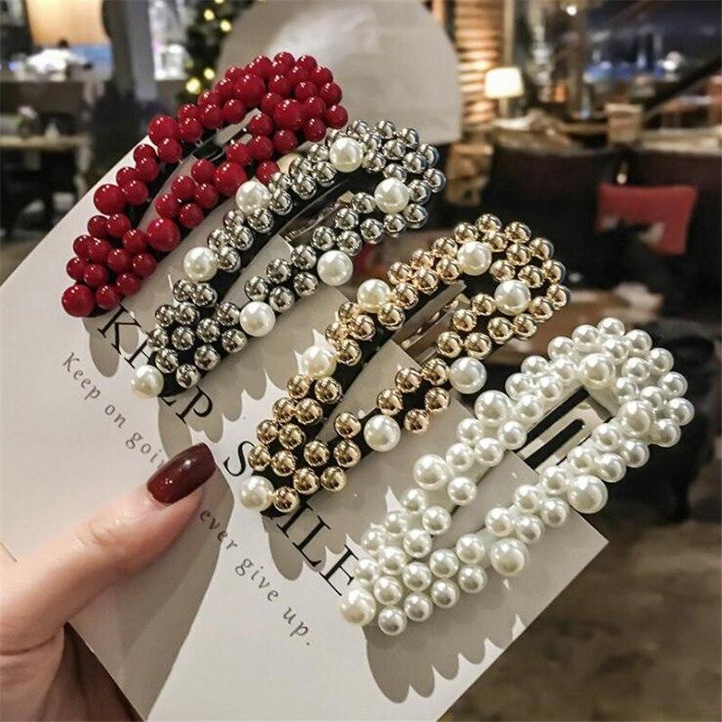 2019 Korea Women Pearl Flower Hairpins Vintage Long Barrettes Hair Clip Crystal Metal Hollow Hair Accessories Hairgrip Hairgrips
