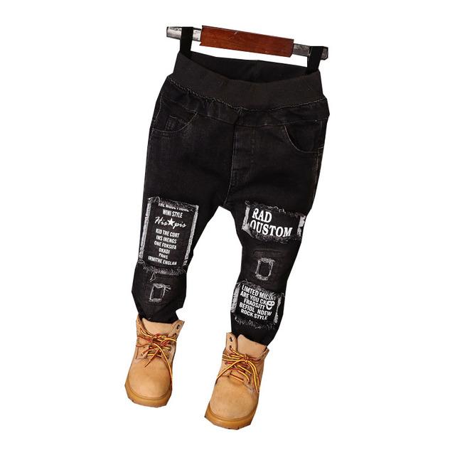 Inverno de Alta Qualidade Crianças Moda Jeans Para 2-7Years Elestic Cintura Carta Grosso Crianças Calças de Brim Do Bebê Meninos Roupas Roupas de Bebê