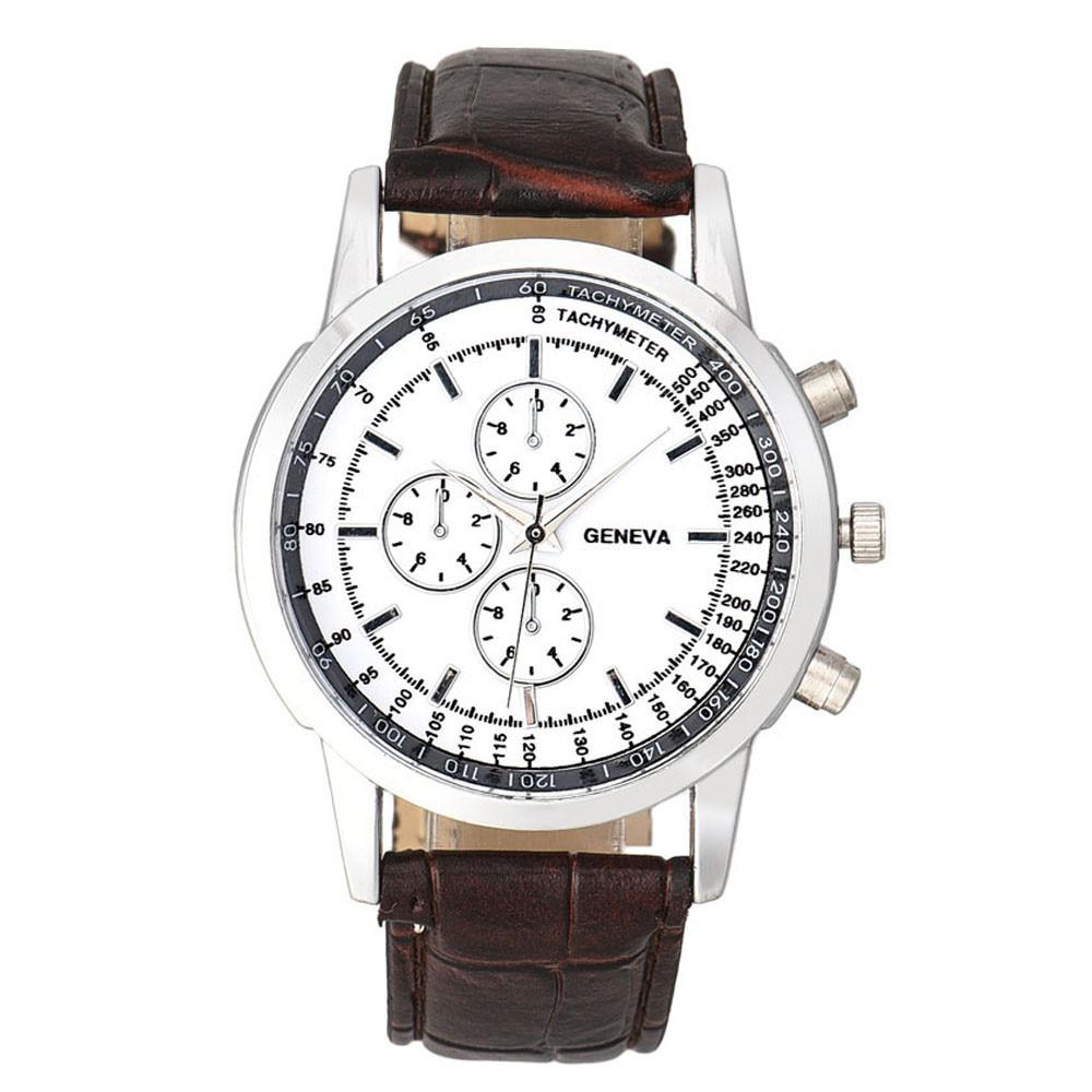 Men font b Watch b font Fashion Men Business Design Dial Leather Band Analog Quartz Wrist