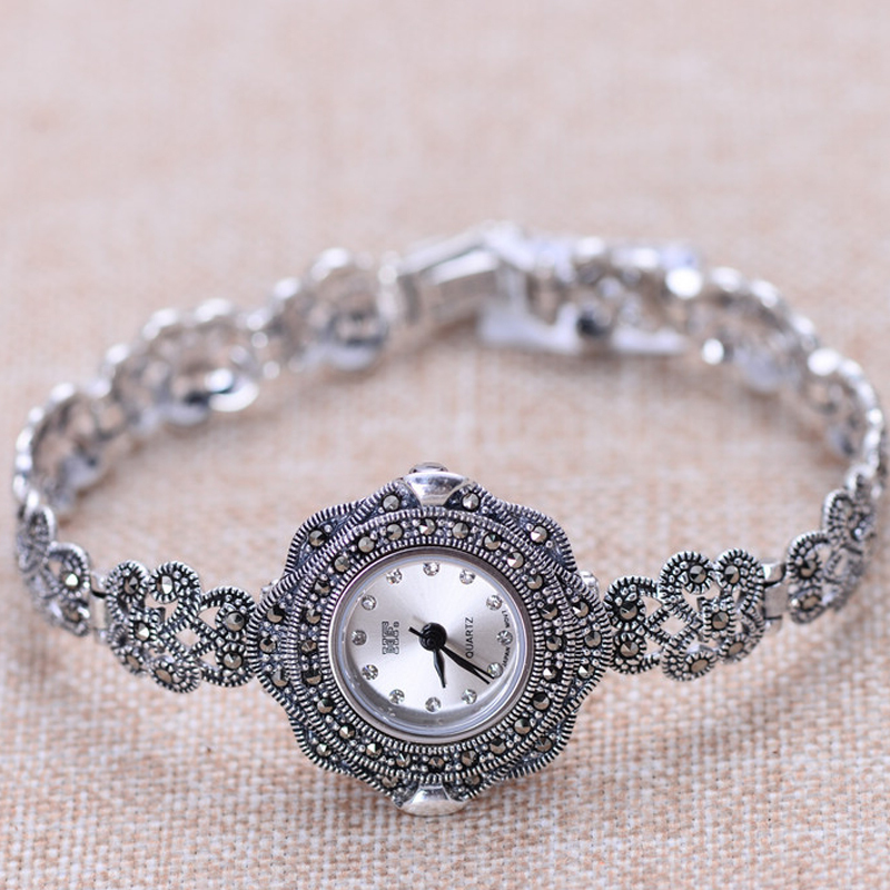 100% Pure 925 Sterling Silver Watch Men Fashion Hand Chain For Women Thai Silver Jewelry Charm Bracelet Homme 1504 925 sterling silver mens bracelets fashion domineering classic hand chain for men and women special jewelry charm bracelet 267
