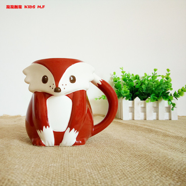 Free shipping 3D Cartoon fox milk cup home decor craft room decoration porcelain figurine animal cup cute limited collection