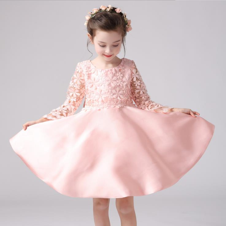 2018 new elegant O Neck Sleeveless Flowers Girls Dresses Bow Appliques for First Communion Lace Ball Gown Girls Evening Gowns цены онлайн