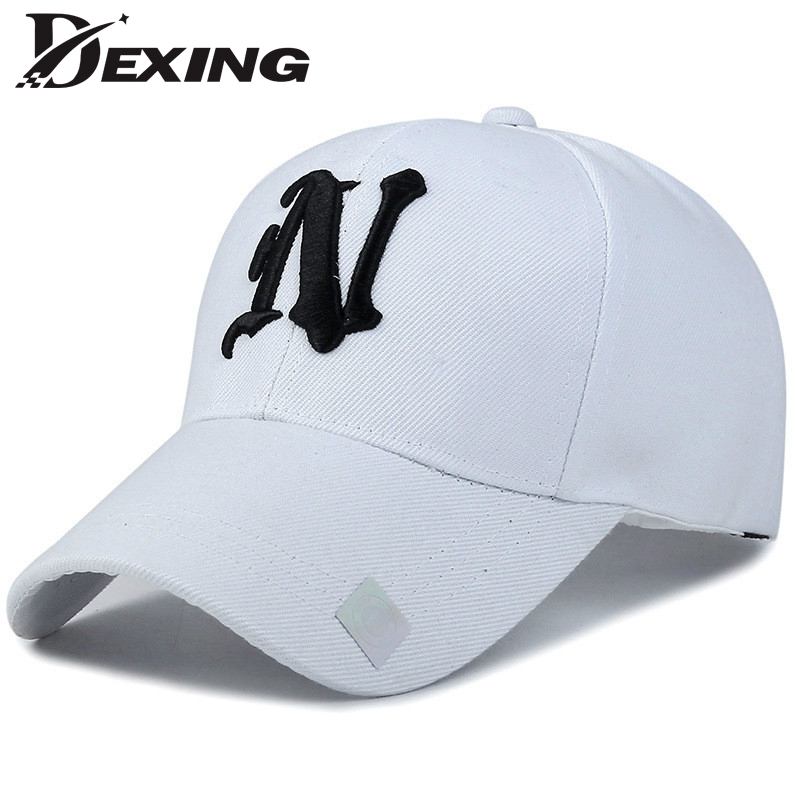 [Dexing]Black White  embroidery baseball cap men solid color Women Caps Casual Snapback curved hat hat 2016 men women strapback snapback baseball cap adjustable hat black white pink color one size