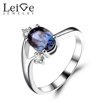 Leige Jewelry Alexandrite Ring Oval Cut Engagement Rings for Women Sterling Silver 925 Fine Jewelry Color Changing Gemstone
