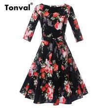 Tonval с цветочным принтом в стиле ретро Платье черного цвета Винтаж Для женщин Belted Floral элегантный осень-зима женский Платья для женщин