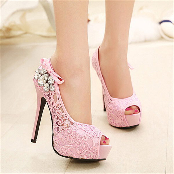 2018 NEW European Brand Ladies Sexy Rhinestone Lace Wedding Shoes High Heels Platform Pumps for women sapatos femininos 35-41