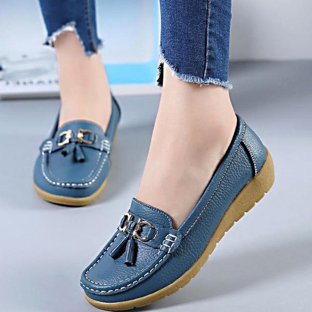 Lente Flats Vrouwen Schoenen Instappers Echt Leer Vrouwen Flats Slip Op vrouwen Loafers Vrouwelijke Mocassins Schoenen Plus Size 35 -44