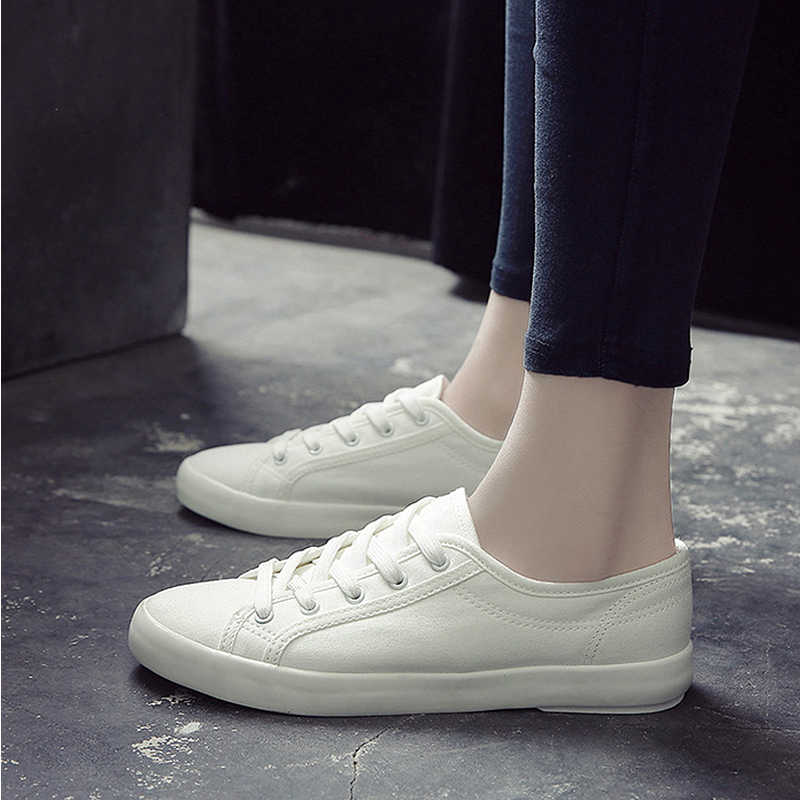 Mujer Classic Ladies Zapatos Tenis Women Trainers Summer Sneakers Casual Vulcanize White Canvas Cotton Shoes Feminino 8nk0wOXP