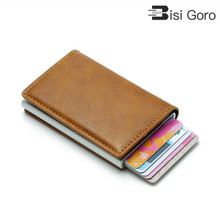 BISI GORO ID Bank Card Case Metal Protection Purse For Women Anti RFID Blocking Mens Credit Holder Leather Small Wallet