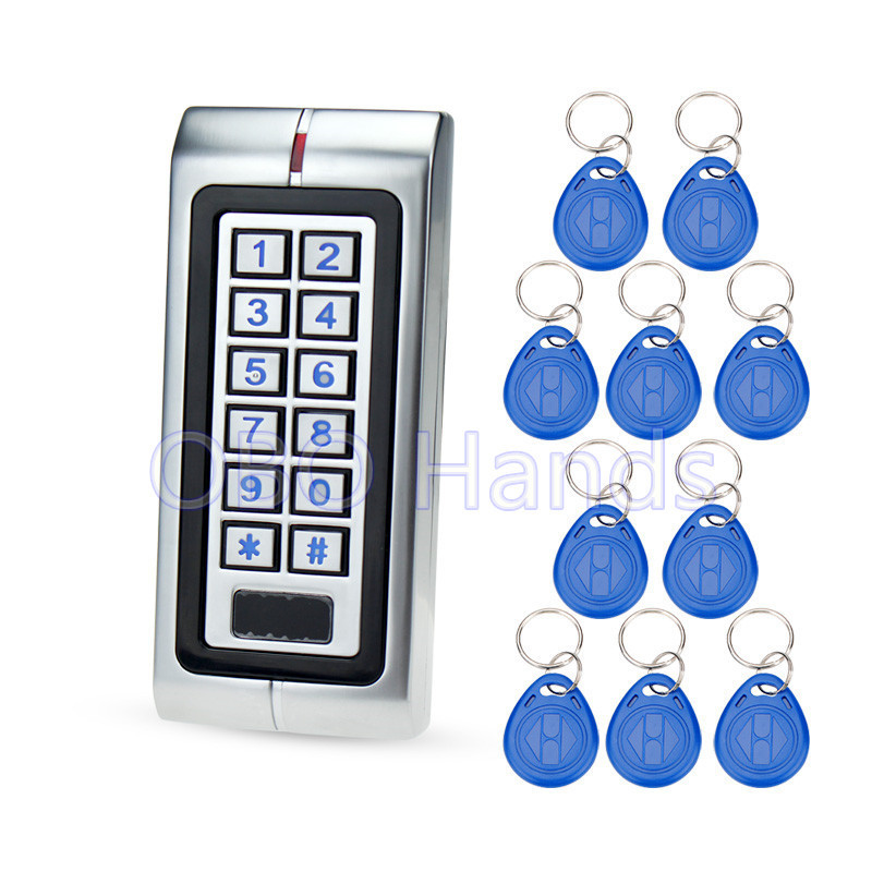 Silver IP65 waterproof access control machine metal RFID 125KHz card reader for electric door lock system support 2000 users wg input rfid em card reader ip68 waterproof metal standalone door lock access control with keypad support 2000 card users