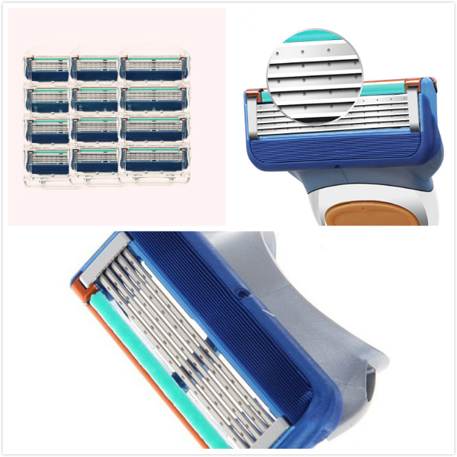 12pcs / Pack Shaver Razor Blade For Men Safety Face Care 5 Layer Stainless Steel Shaving Cassette For Gillettee Fusion