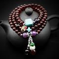 Red Beaded Bracelet, Natural Garnet Turquoise Bangle Bracelet, Buddhism pu tizi Agate Prayer Beads Bracelets Diameter 6.4mm