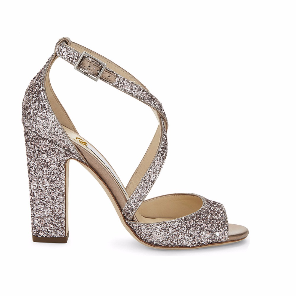 Original Intention Sexy Women Sandals Popular Glitter Open Toe Square Heels  Sandals Blue Silver Shoes Woman Plus US Size 3 10.5-in High Heels from Shoes  on ... 7d10be833a3e