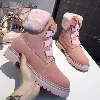 Women's high-quality fur one snow boots winter thick warm waterproof non-slip boots large foreign trade large size 9 40.