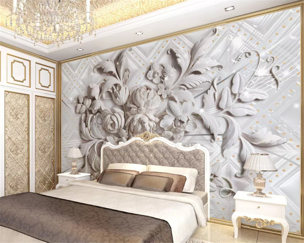 beibehang Simple wallpaper beautiful soft bag European embossed bedroom 3d stereo TV background papel de parede papier peint in Wallpapers from Home Improvement