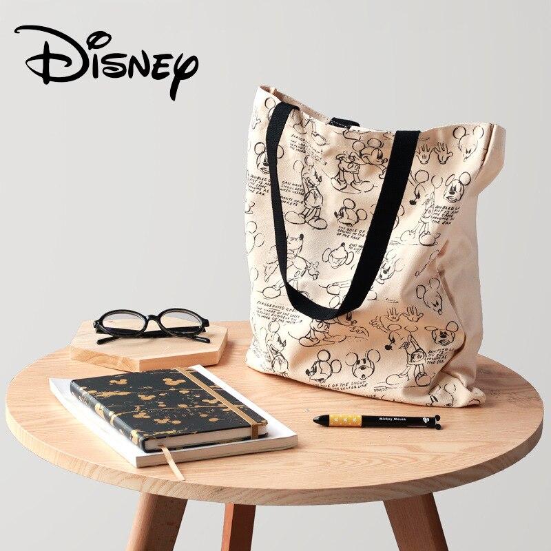 Genuine Disney Mickey Classic Retro Multi-function Simple Canvas Women Bag Canvas Bag Fashion Mummy Bag For Girls Gifts Hot Sale