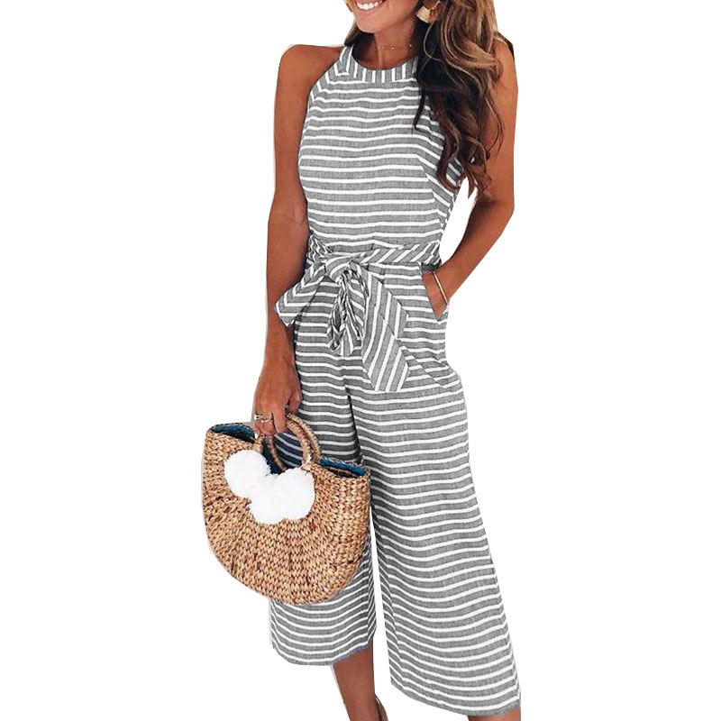 women summer jumpsuit 2020 new round neck sleeveless sashes hoe sale stripe rompers womens jumpsuit vestidos de festa OYM0930