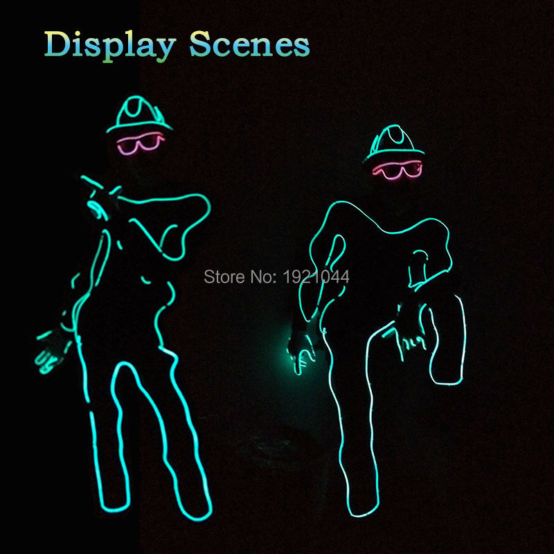Сделай Сам фестиваль праздничная одежда el wire 10 цветов Выберите лазерной Танцы с EL Очки создано dc-12v кнопку EL драйвер