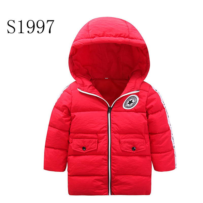Feather High Quality Boy Winter Coat New Brand Winter Feather Cotton Girls Kids Warm Solid Hooded Zipper Down Parkas For 4-12T