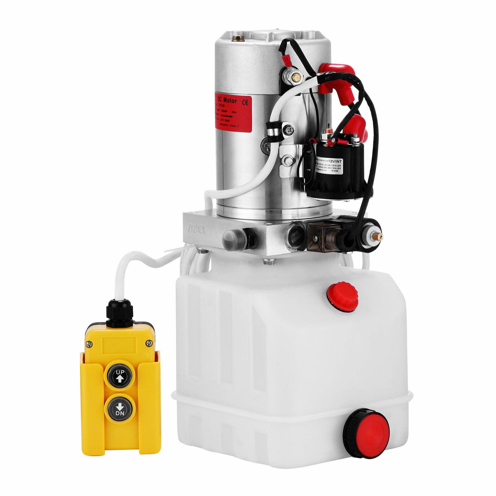 Hydraulic Pump 12V DC Single Acting Hydraulic Power Unit 4 Quart Plastic Tank Hydraulic Pump Power Unit For Dump Trailer Car Lif