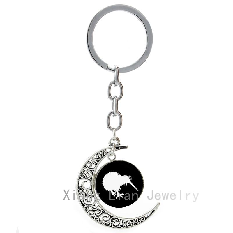 2016 Latest fashion Kiwi Birds keychain cute animal New Zealand kiwi bird art silhouette moon key chain lovely gift keyring T442