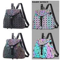 Women Laser Luminous Backpack Mini Geometric Shoulder Bag Folding Student School Storage Bags For Teenage Girl Hologram Backpack