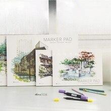 A3/A4 סמן עט מחברת אופנה סמן כרית 32 גיליונות עבה נייר (160g) צבע עפרונות מחברות
