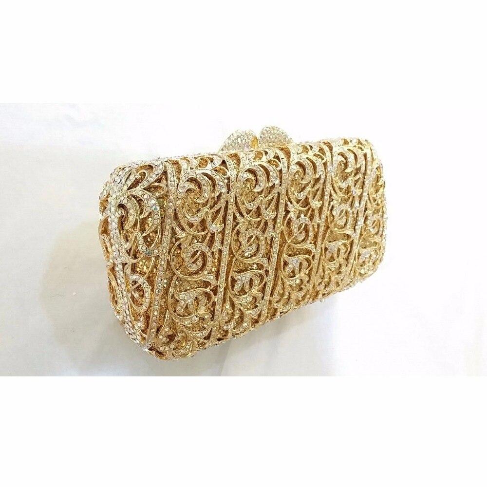 ФОТО 8315GD Crystal Lady Fashion Wedding Bridal Party Night hollow Gold Metal Evening purse clutch bag box handbag case