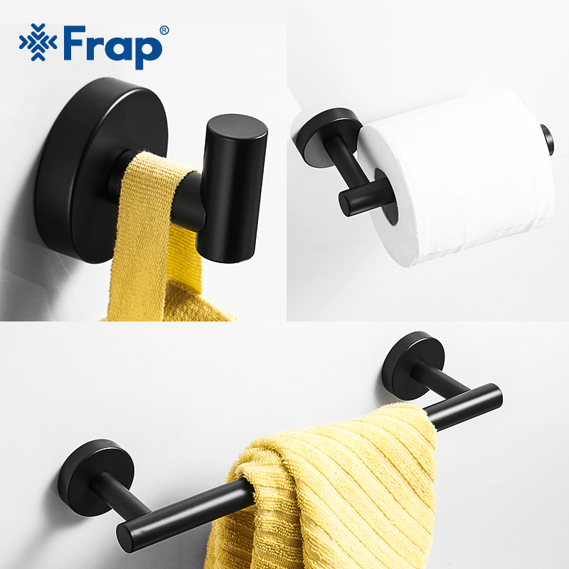 Frap Matte Black Bathroom Hardware Set Black Robe Hook Single Towel Bar Robe Hook Paper Holder Bathroom Accessories Y38124-2