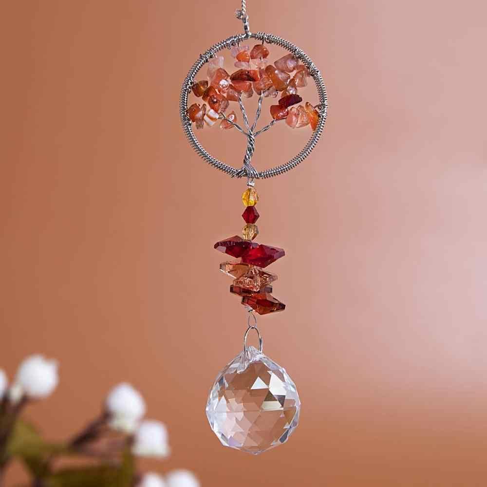 H & D Pohon Kehidupan Liontin dengan Kristal SunCatcher Jendela Menggantung Crystal Ornamen Pelangi Membuat Pohon Natal Menggantung Tetes