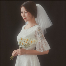 Shoulder Length Veils For Bride Wedding Womens White Ivory Soft Net Gather Cheap Simple Short Mini Bridal VE018