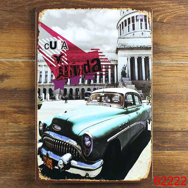 Us 4 8 Vintage Cuba Car Metal Signs Wall Art Decoration Cafe Bar Iron Painting Mix Order 20 30 Cm In Plaques Signs From Home Garden On