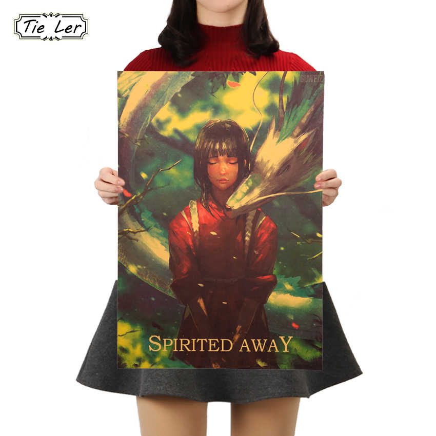 TIE LER Miyazaki Anime Poster Spirited Away Kraft Paper Cafe Bar Retro Poster Decorative Painting Art Wall Stickers Home Decor