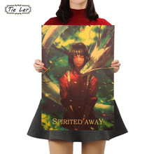 TIE LER Miyazaki Anime Manifesto Spirited Away Kraft di Carta Cafe Bar Retro Poster Pittura Decorativa di Arte Della Parete Adesivi Complementi Arredo Casa(China)