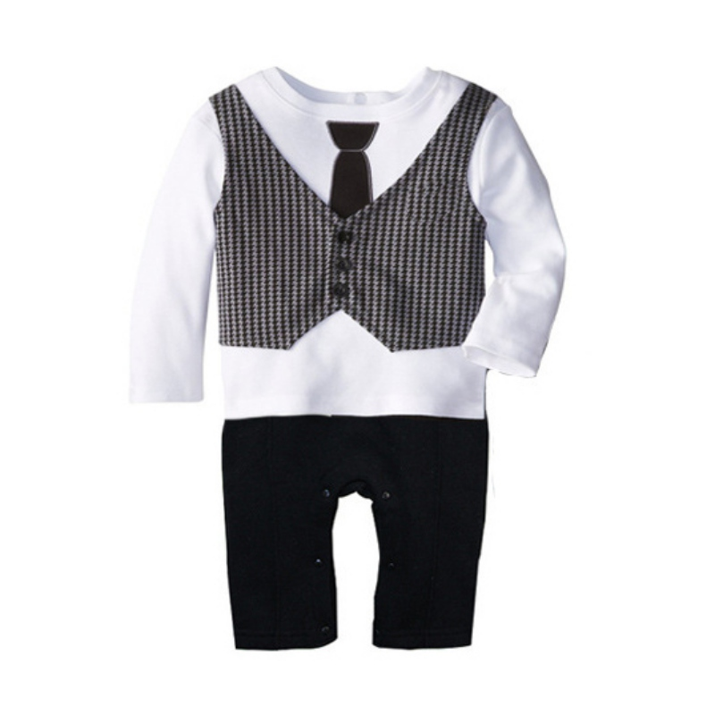 Baby Gentleman Toddler Baby Boy Long Sleeve Romper Printed Jumpsuit Clothes Outfit