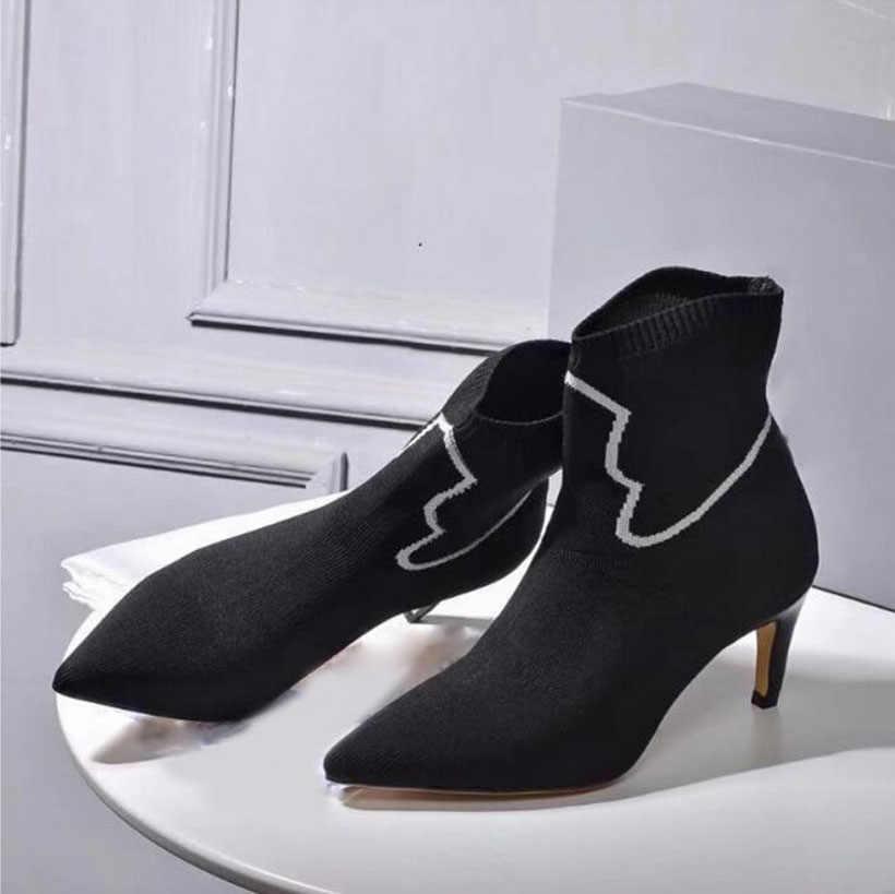 JAWAKY 2018 Yeni bahar elastik yarım çizmeler Kadınlar için beyaz desen dekor yavru kedi Topuklu Örme streç çorap Ayakkabı Kadın pompaları
