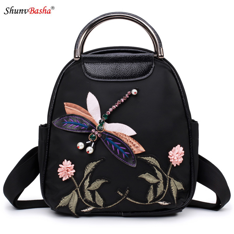 National Wind Oxford cloth backpack 2017 Europe and America new female package personalized embroidery iron ring