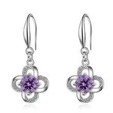 Trendy Lucky Flower Shine Cubic Zirconia 925 Sterling Silver Lady Drop Earrings Jewelry Promotion Gift Wholesale