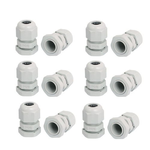 PG9 Waterproof Wire Cable Glands Clamp White Plastic Connector 12pcs ...