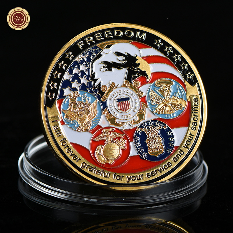 WR United States Freedom Gold Plated Coin Christmas Gifts US Eagle Golden Metal Challenge Coin for Collection