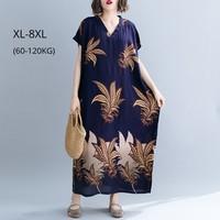 Fashion Women Summer Clothing Cotton Linen Plus Size XL 8Xl Women Big Floral Print Loose Casual Long Dresses Vintage Boho Dress