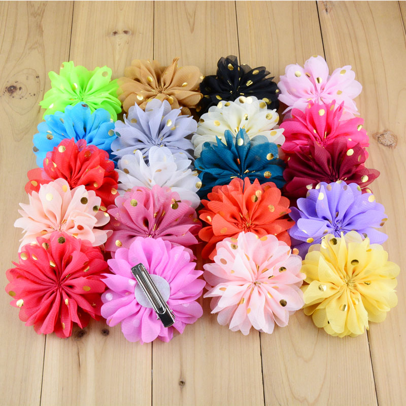 Hot New 100pcs/lot 22colors 3.15 Inch Gliding Dots Boutique Chiffon Flowers With Clip For Girls Hair Accessories Fc27 Hair Accessories